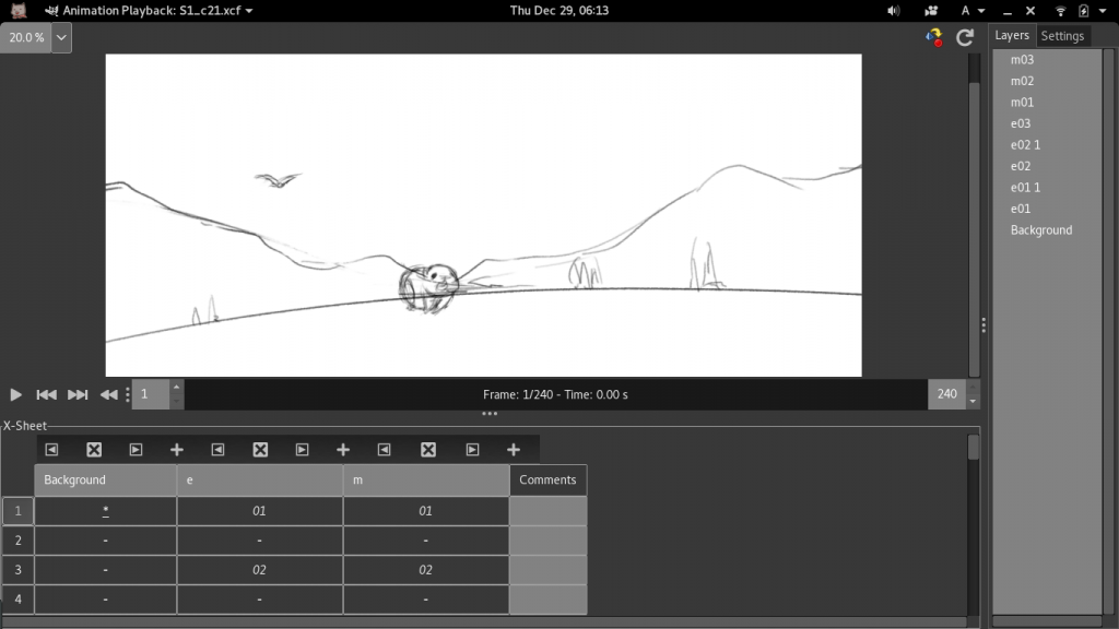 GIMP Animation plug-in: Cel-animation view