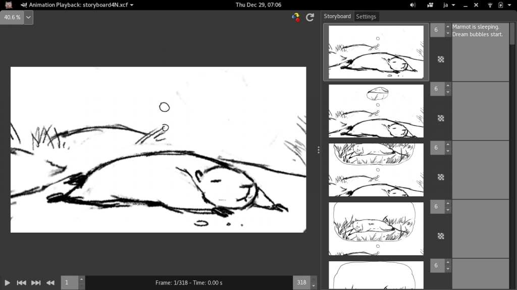 GIMP's animation plug-in: storyboard view
