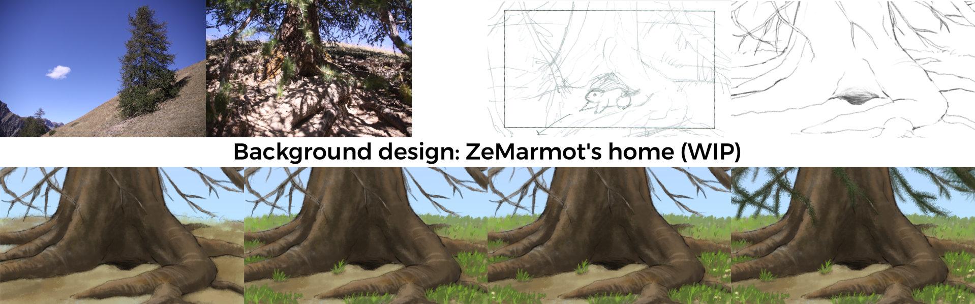 Background design: ZeMarmot home (title)